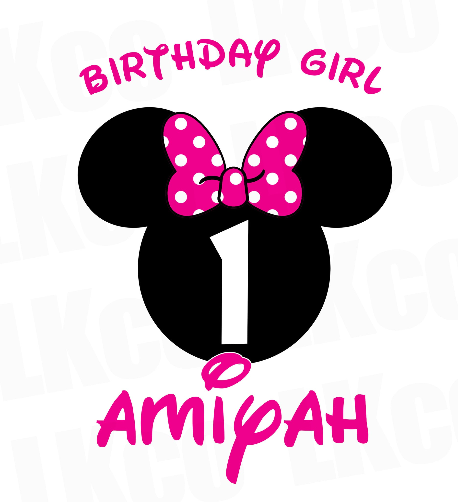 Minnie Mouse Iron On Transfer | Birthday Girl | Pink & Black Dots - LuvibeeKidsCo