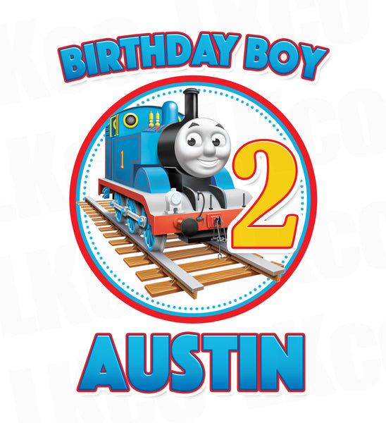 Thomas the Train Iron On Transfer for Birthday Boy, Any Name & Age