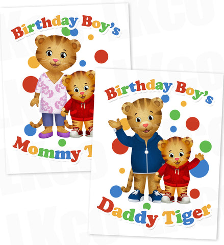 Daniel Tiger Iron On Transfers Set for Mommy & Daddy | Birthday Boy #01 - LuvibeeKidsCo