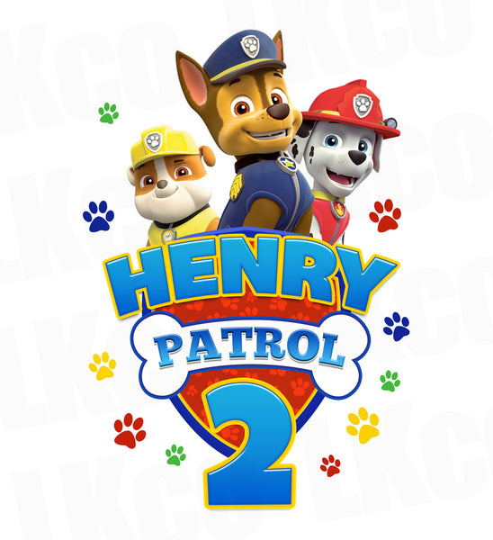 Paw Patrol Iron On Transfer - Patrol Birthday Style 02