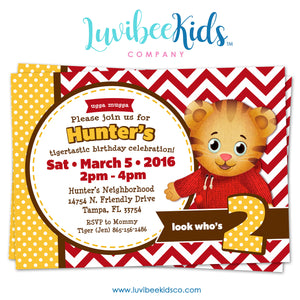 Daniel Tiger Invitation - Red Chevrons - LuvibeeKidsCo