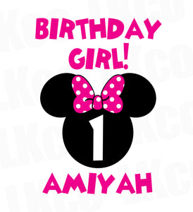 Minnie Mouse Iron On Transfer | Birthday Girl | Pink & Black Dots 02 - LuvibeeKidsCo
