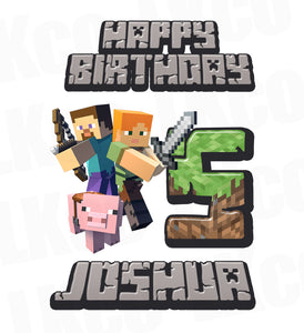 Minecraft Iron On Transfer | Happy Birthday - LuvibeeKidsCo