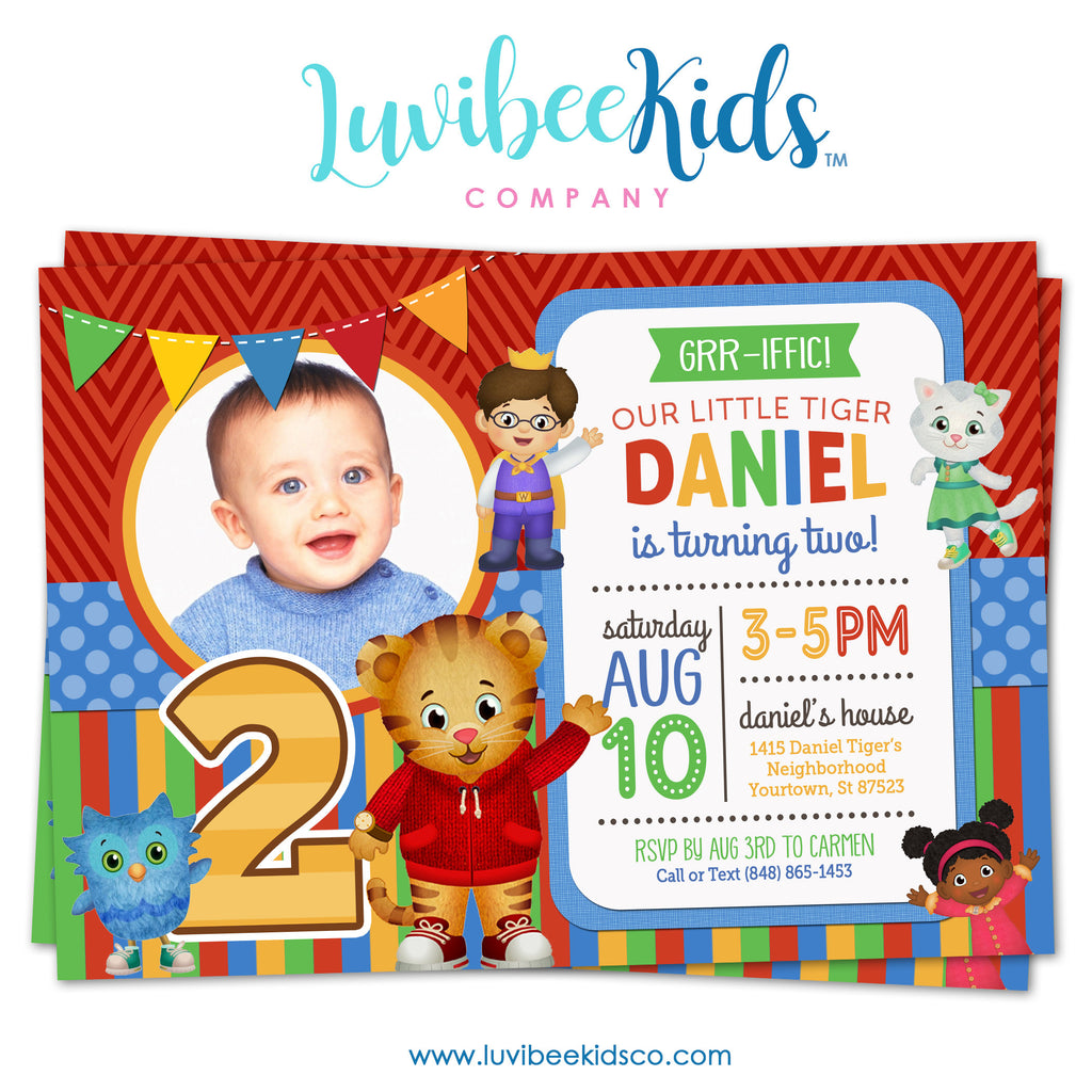 Daniel Tiger Invitation with Photo - Colorful Chevrons & Stripes - Style #006 - LuvibeeKidsCo