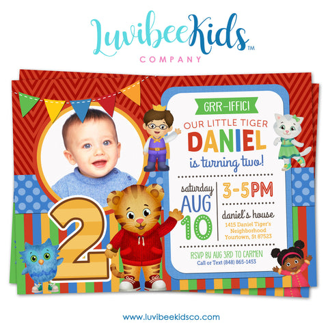 Daniel Tiger Invitation with Photo - Colorful Chevrons & Stripes - Style #006