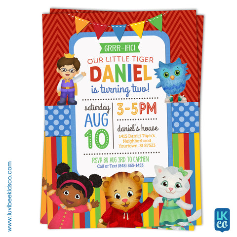 Daniel Tiger Invitation - Colorful Chevrons & Stripes - Style #003 - LuvibeeKidsCo