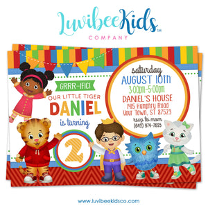 Daniel Tiger Invitation - Colorful Stripes & Chevrons - LuvibeeKidsCo