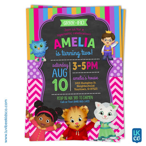 Daniel Tiger Invitation for Girls - Colorful Pink & Purple - Style #013 - LuvibeeKidsCo