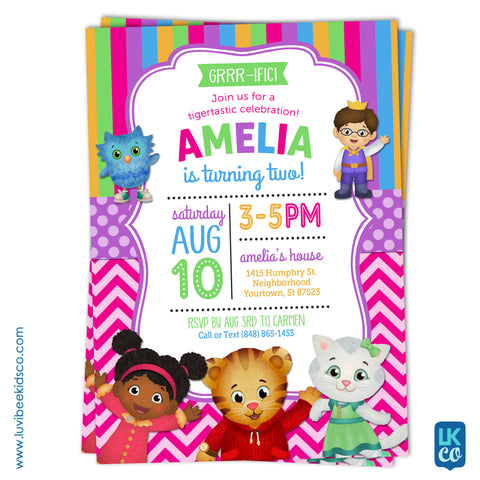 Daniel Tiger Invitation for Girls - Colorful Pink & Purple - Style #012 - LuvibeeKidsCo