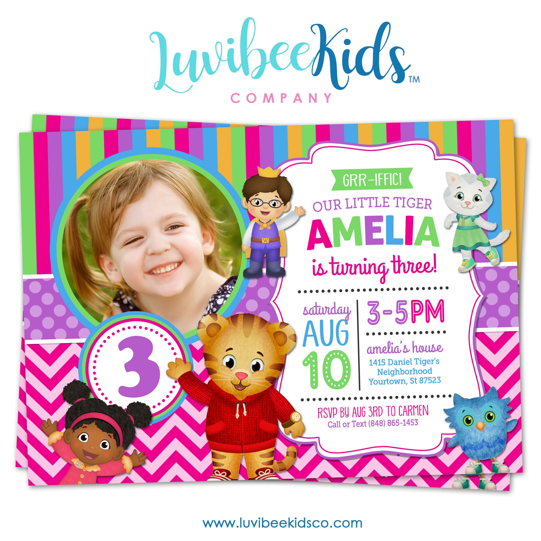 Daniel Tiger Invitation For Girls With Photo