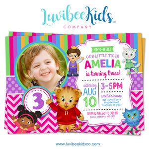 Daniel Tiger Invitation for Girls with Photo - Colorful Pink & Purple - Style #014 - LuvibeeKidsCo
