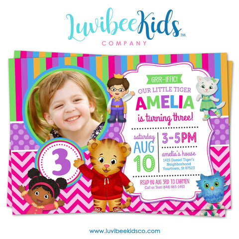 Daniel Tiger Invitation for Girls with Photo - Colorful Pink & Purple - Style #014