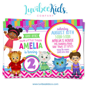 Daniel Tiger Invitation for Girls - Colorful Pink & Purple - Style #011 - LuvibeeKidsCo