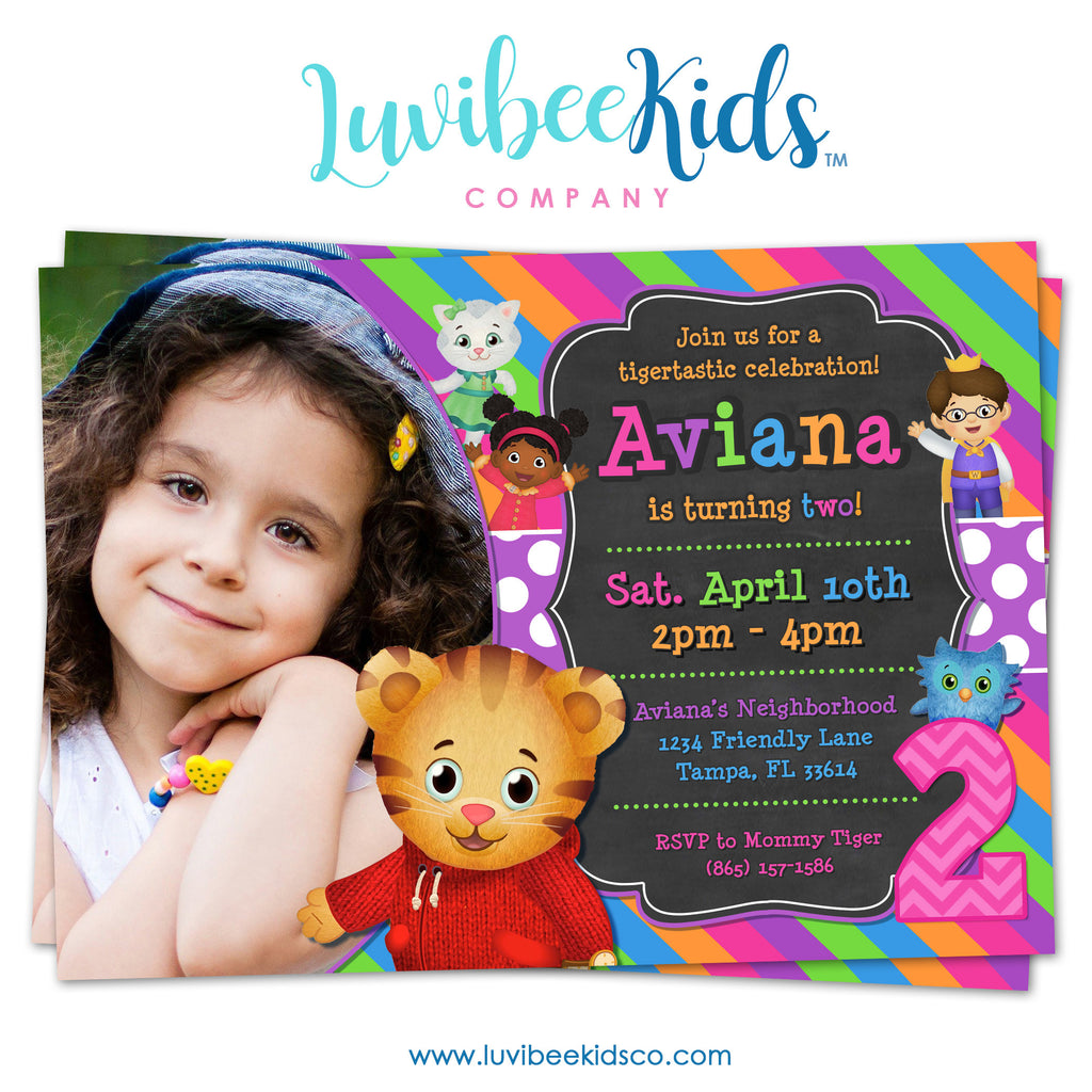 Daniel Tiger Invitation for Girls with Photo - Colorful Chalkboard - Style #015
