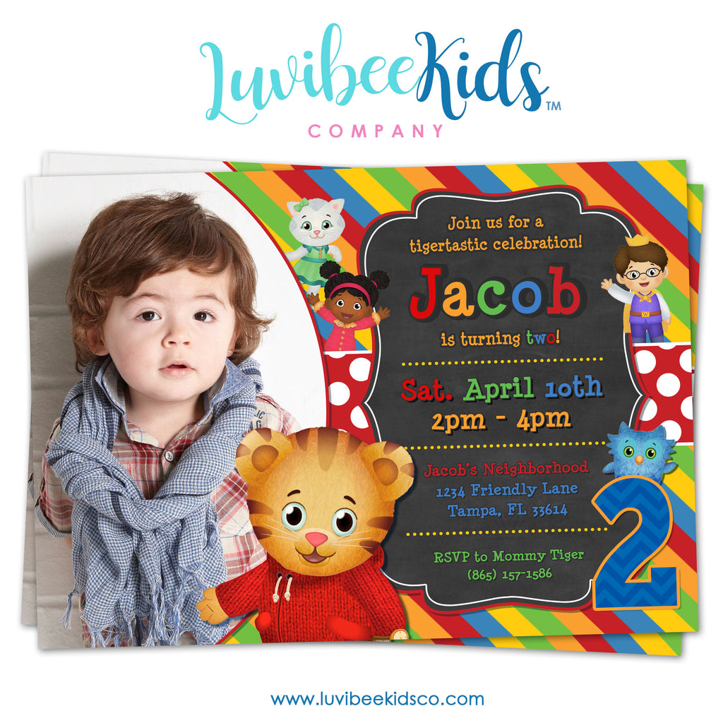 Daniel Tiger Invitation with Photo - Colorful Chalkboard - Style #019