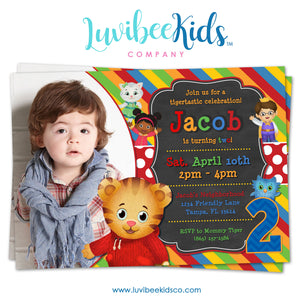 Daniel Tiger Invitation with Photo - Colorful Chalkboard - Style #019 - LuvibeeKidsCo