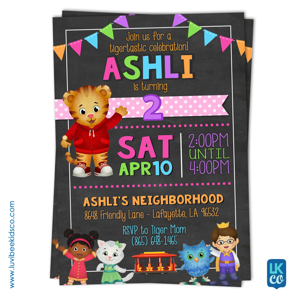 Daniel Tiger Invitation - Colorful Chalkboard - Style #018 - LuvibeeKidsCo
