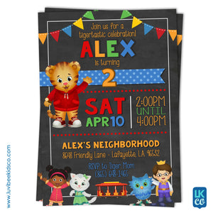 Daniel Tiger Invitation - Colorful Chalkboard - Style #017 - LuvibeeKidsCo