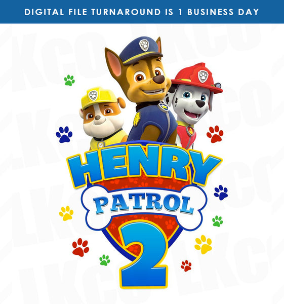 Paw Patrol Iron On Transfer - Patrol Birthday Style 02 - LuvibeeKidsCo