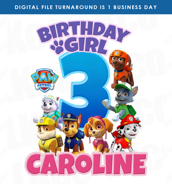 Paw Patrol Iron On Transfer | Birthday Girl