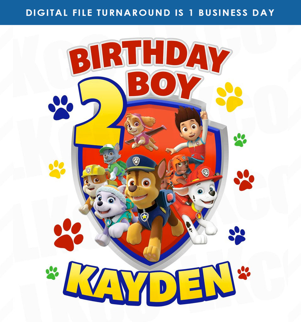 Paw Patrol Iron On Transfer | Primary Colors Paw Prints | Birthday Boy