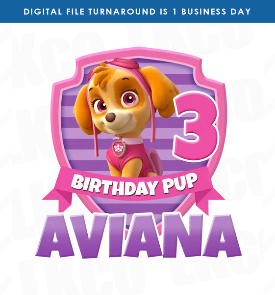 Paw Patrol Iron On Transfer | Skye Pup - Pink & Purple - LuvibeeKidsCo