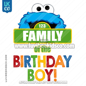 Sesame Street Iron On Birthday Shirt Design | Cookie Monster - Add A Family Member - Birthday Boy 02
