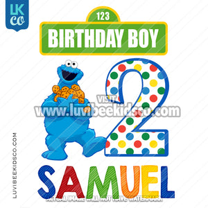 Sesame Street Iron On Birthday Shirt Design | Cookie Monster Birthday Boy or Girl