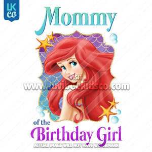 Little Mermaid Iron On Transfer - Mommy of the Birthday Girl - LuvibeeKidsCo