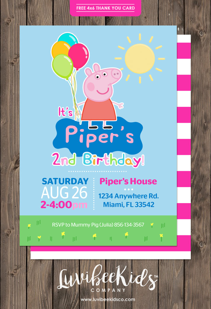 peppa pig birthday invitation free backside thank you card
