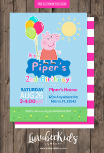 Peppa Pig Birthday Invitation | Free Backside & Thank You Card