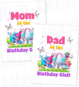 Trolls Iron On Transfer | Mom & Dad of the Birthday Girl Set
