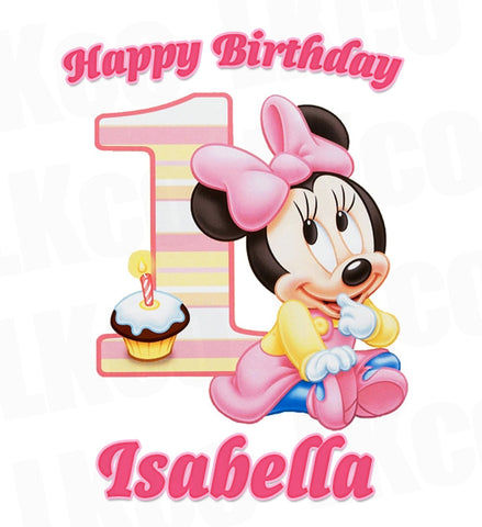 Baby Minnie Mouse Iron On Transfer | 1st Birthday
