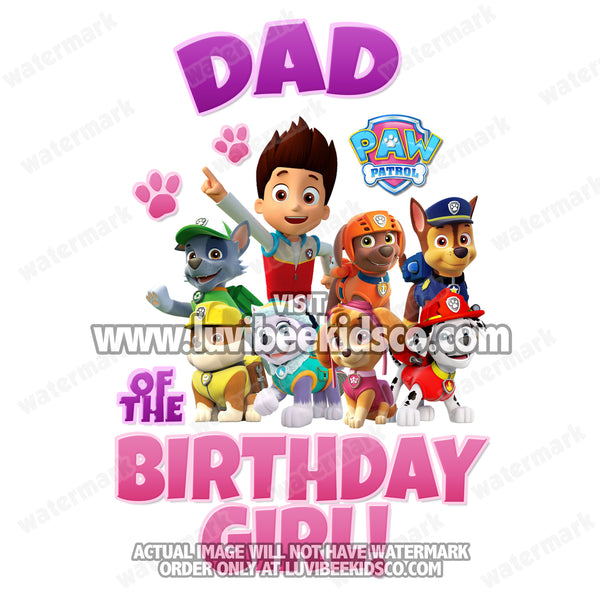 Paw Patrol Iron On Transfer - Pink & Purple | Dad of the Birthday Girl
