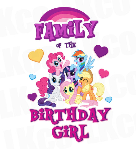 My Little Pony Birthday Shirt Transfer | Pink Birthday Girl | Add Family Members - LuvibeeKidsCo