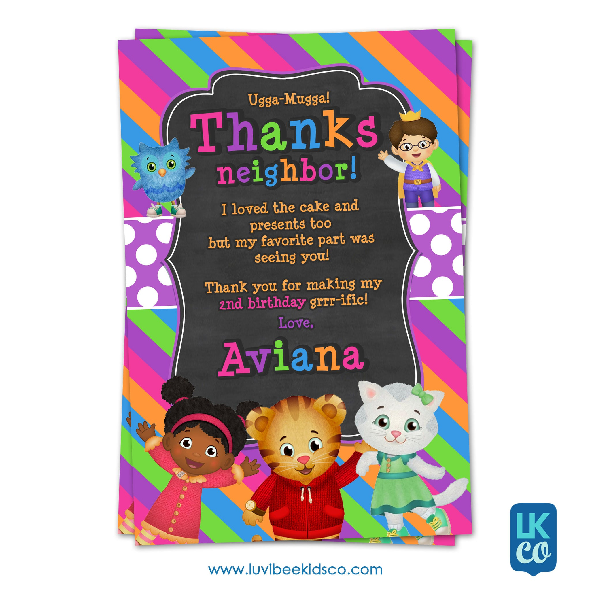 Daniel Tiger Personalized Thank You Card | Pink Chalkboard - LuvibeeKidsCo