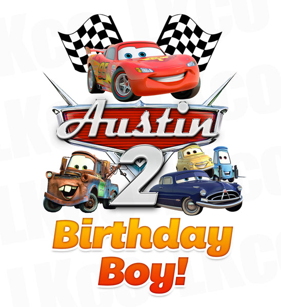 Disney Cars Iron On Transfer | Lightning McQueen & Friends | Birthday Boy - LuvibeeKidsCo
