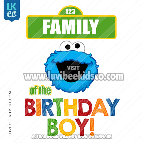 Sesame Street Iron On Birthday Shirt Design | Cookie Monster - Add A Family Member - Birthday Boy