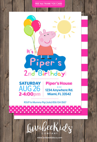 Peppa Pig Birthday Invitation Dots | Free Backside & Thank You Card