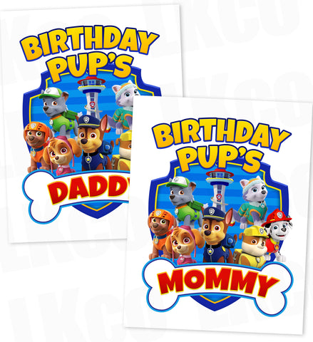 Paw Patrol Iron On Transfer - Bone | Blue - Birthday Pup's Daddy & Mommy Set | Style 02