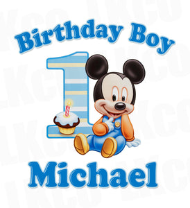 Baby Mickey Mouse Iron On Transfer | 1st Birthday - LuvibeeKidsCo