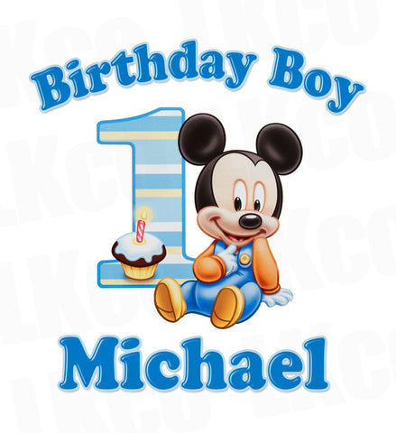 Baby Mickey Mouse Iron On Transfer | 1st Birthday