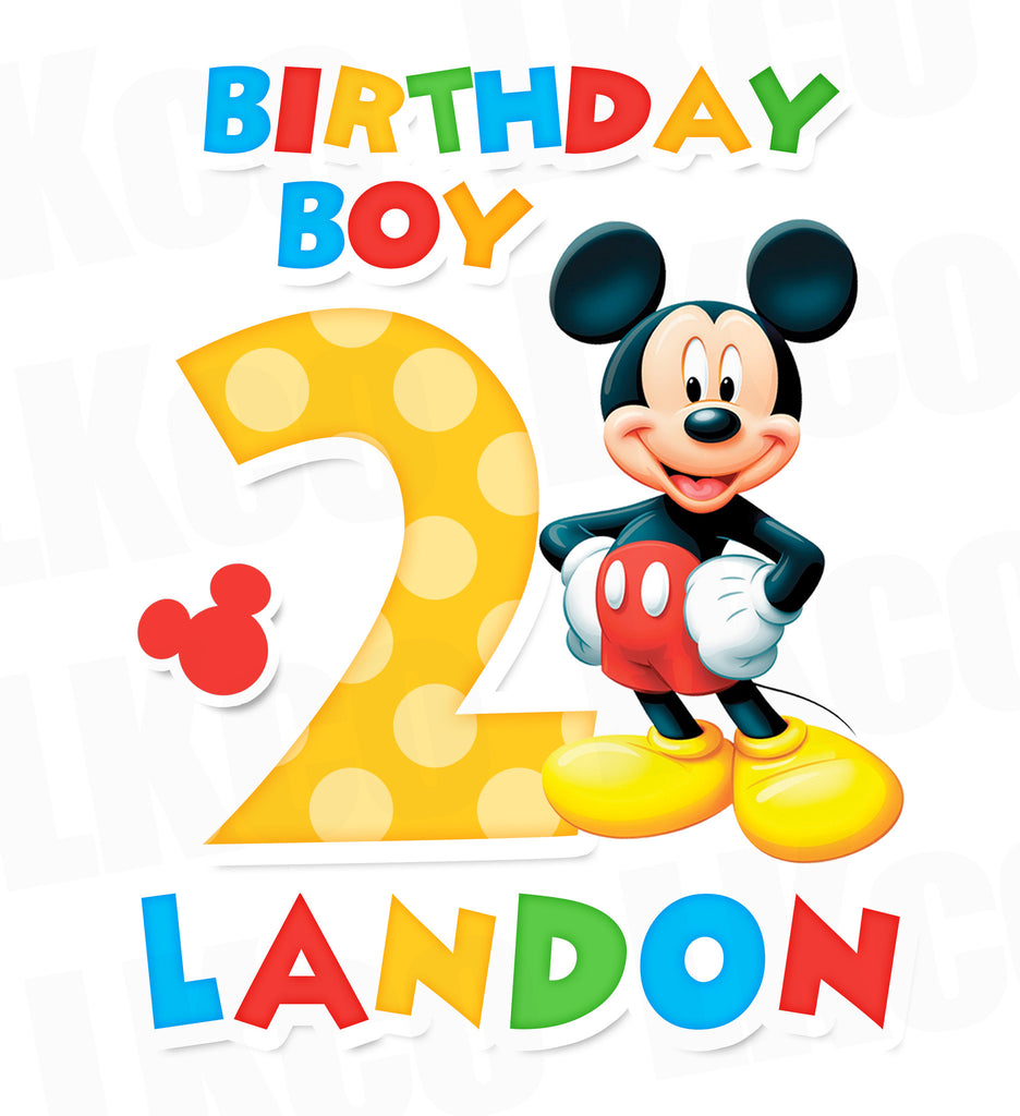 Mickey Mouse Iron On Transfer | Birthday Boy | Primary Colors