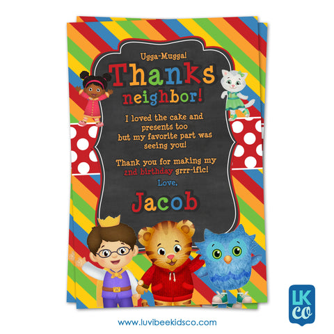 Daniel Tiger Personalized Thank You Card | Red Chalkboard - LuvibeeKidsCo