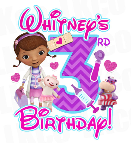 Doc McStuffins Birthday Design | Pink & Purple Chevrons - LuvibeeKidsCo