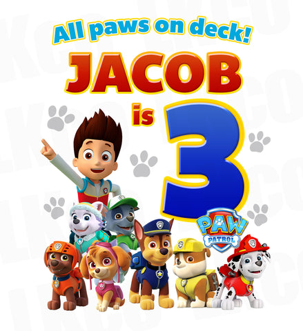 Paw Patrol Iron On Transfer - All Paws on Deck