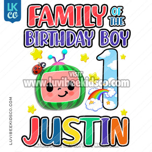 Cocomelon Inspired Heat Transfer Designs - Cocomelon TV Rainbow Birthday Boy - Add Family Members