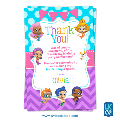Bubble Guppies - Girl's Style | Rainbow | Personalized Thank You Card 4x6 - LuvibeeKidsCo