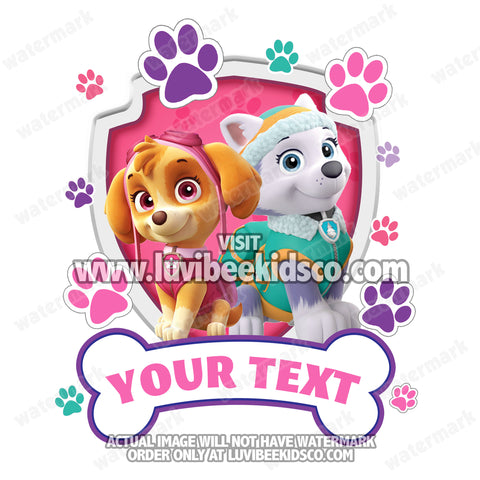 Paw Patrol Iron On Transfer - Girls Paw Prints | Family Members Add-on - LuvibeeKidsCo