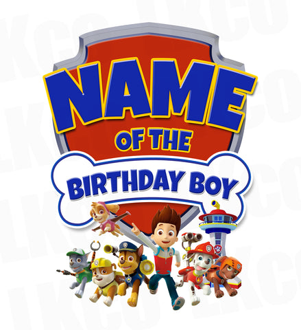 Paw Patrol Iron On Transfer - Birthday Boy | Family Members Add-on